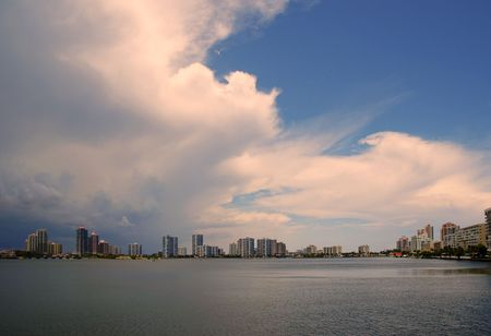 Clouds above the intercoastal of Sunny Isles Beach, Florida