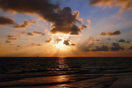 Sunset at Naples Beach, Gulf of Mexico, Florida Stock Photo