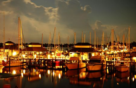 Night at a Naples Bay marina, Florida Stock Photo