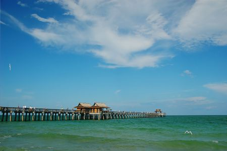 Fishing pier at municipal beach, Naples, Florida, Gulf of Mexico