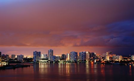 Night view on Aventura from Sunny Isles Beach over Intercoastal Waterway Stock Photo - 3729988