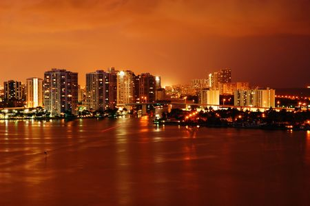 Night view on Aventura from Sunny Isles Beach over Intercoastal Waterway Stock Photo - 3729998