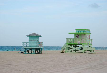 Colorful lifeguard stands at Sunny Isles Beach, Florida