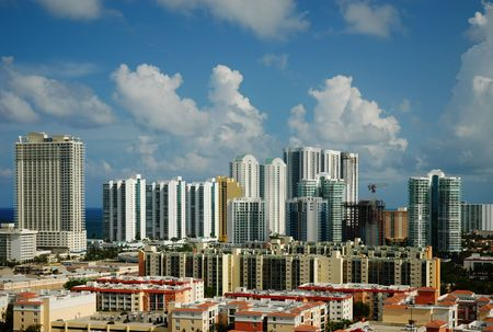 Highrise buildings and condominiums at the coast of Sunny Isles Beach Stok Fotoğraf - 3730042