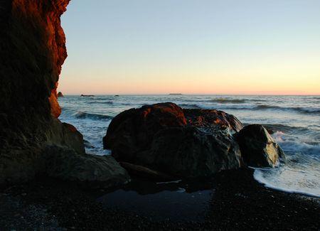 岬の失望の州立公園、ワシントン州のベンソン ビーチでサンセット 写真素材 - 3802896
