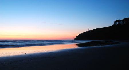 decepci�n: Puesta del sol en la playa Benson, Cabo decepci�n Parque Estatal