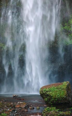 The drop of Multnomah falls at Columbia River Gorge, Oregon