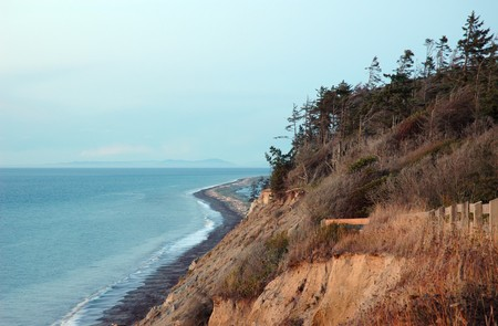 strait of juan de fuca: Strait of Juan De Fuca and Dungeness spit in a sunset light