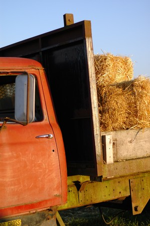 Side part of an old orange farm truck with a load of hay photo