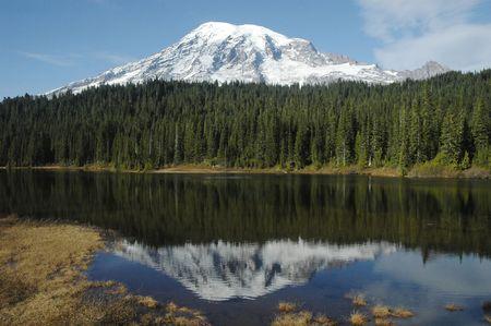 Mt. Rainier with reflection in alpine lake