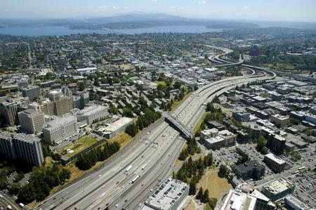 Birds eye view of Seattle, Washington Stock Photo