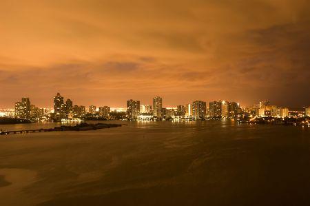 Night view on Aventura from Sunny Isles Beach over Intercoastal Waterway, Florida Stock Photo