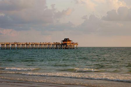 Sunset view of Naples, Florida fishing pier Stock Photo