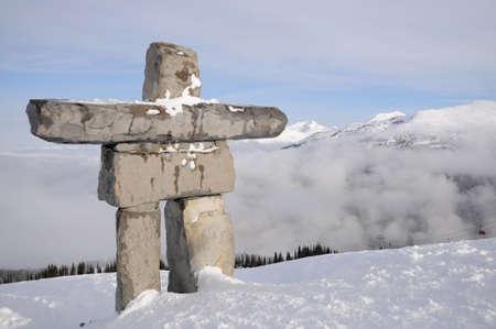 Ilanaaq inuksuk sculpture at Whistler municipal resort, British Columbia, symbol of 2010 Olympic games photo