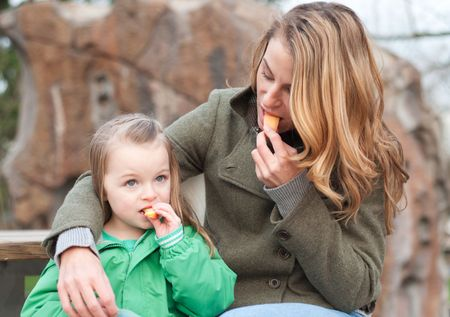 Mother and daughter sharing an apple for a snack at the park photo