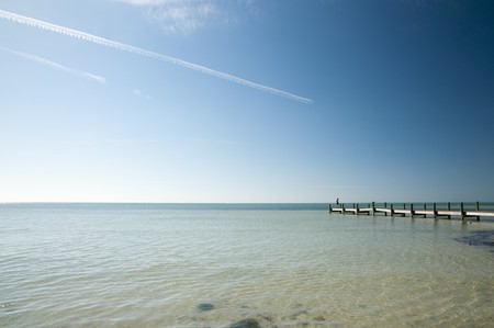 Pier at Marathon key beach on a calm morning Stock Photo - 8087680