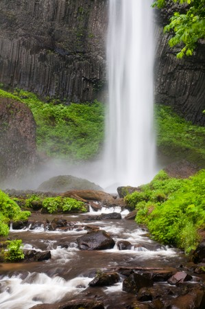 Water plunge of Latourell Falls at Columbia River Gorge photo
