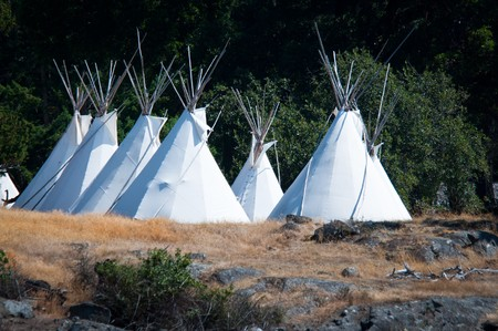 Native americans tipis on one of the Puget Sound islands in Washington photo