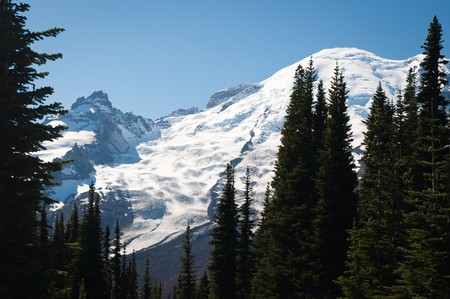 Snow top of My. Rainier at summer viewed from Sunrise point at Mt. Rainier National park