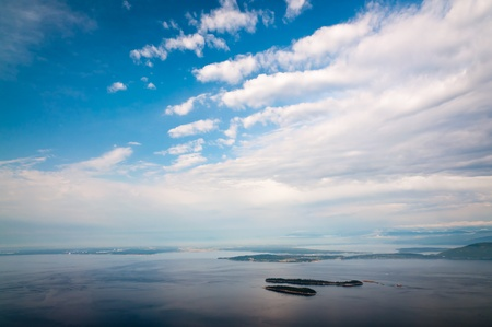 birdeye: Bird-eye view of San Juan islands in Puget Sound Stock Photo