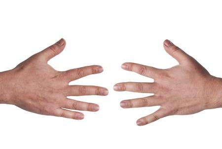 Geïsoleerde twee mannelijke handen met open vingers
