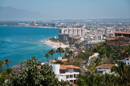 Puerto Vallarta city and Banderas Bay view from above