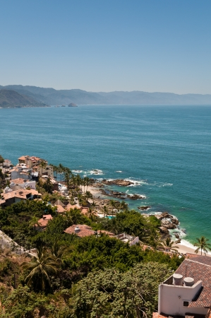 viewpoint: Puerto Vallarta and Banderas Bay view from the elevated viewpoint Stock Photo