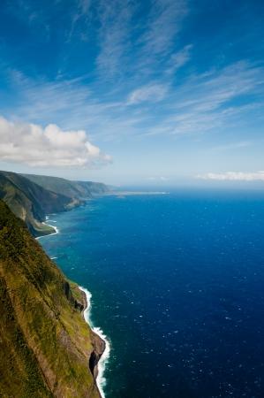 Aerial view of Molokai island coastline, Hawaii