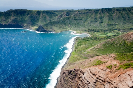 Aerial picture of a part of Molokai island coast, Hawaii photo