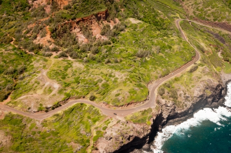 Kahekili highway along Maui island coast view from the helicopter photo