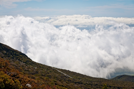 View of the clouds at the top of Haleakala, Maui