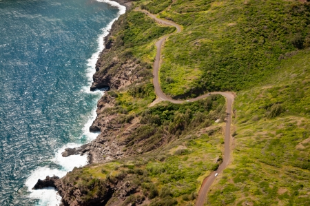 Kahekili highway winding along Maui  island coast photo