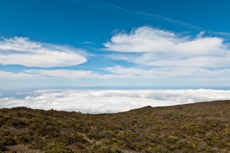 View of the clouds from top of Haleakala, Maui photo