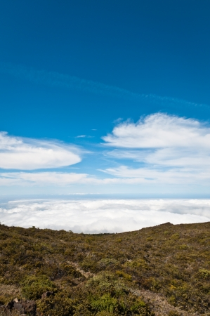 View of the clouds at the top of Haleakala, Maui photo
