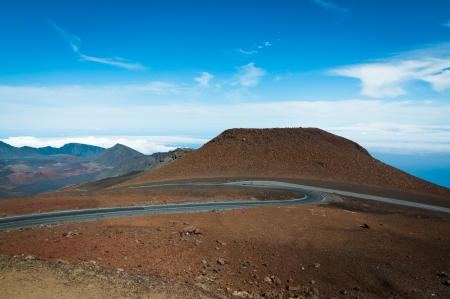 Road winding to the top of Haleakala mountain, Maui, Hawaii photo