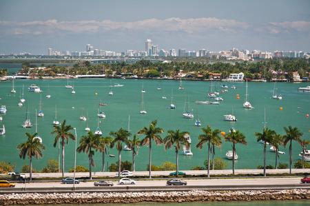 intercoastal: Scenic landscape of MacArthur causeway in Miami off Dodge Island Stock Photo