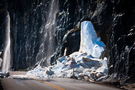 Glacier mass collapsed on a highway at Glacier National Park