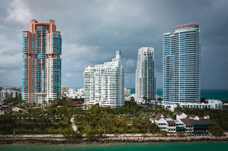 Skyscrapers of South Beach in Miami as viewed from the sea