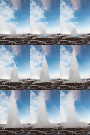 Strokkur Geysir in Iceland in progressive frames Imagens
