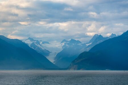 Mountains and glacier along Lynn Canal in Alaska