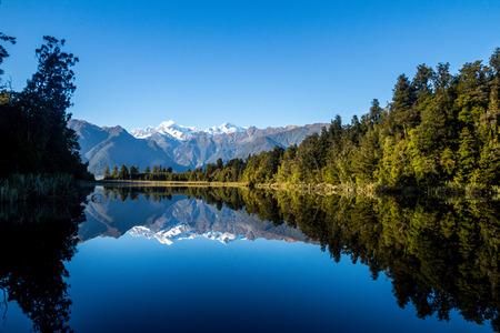reflection: Stunning reflection of the nature. Mirror Lake, New Zealand Stock Photo