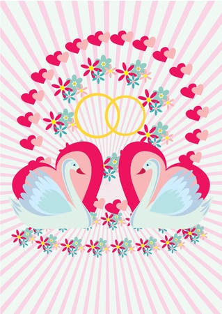 Greeting card with swans