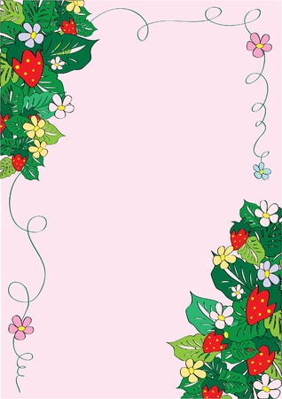 greeting card with strawberry Illustration