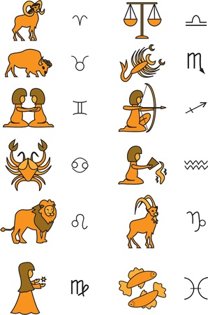 signs of the zodiac Illustration