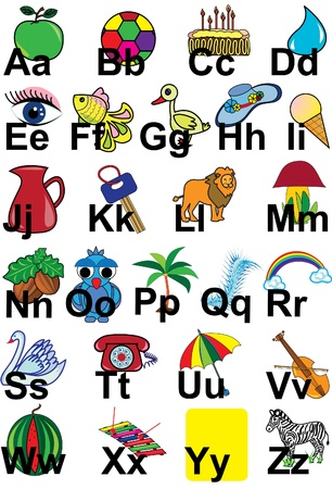 English alphabet with pictures for childrens education Illustration