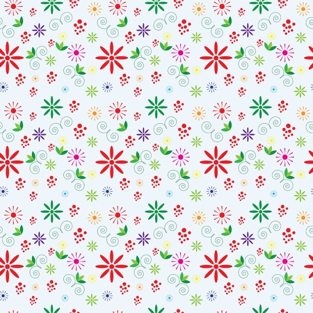 seamless floral pattern with decorative colored elements Stock Vector - 9909828