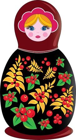 muñecas rusas: Matrioshka rusa souvenir tradicional de ilustración y símbolos nacionales Vectores