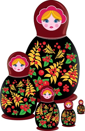 Russian matrioshka illustration traditional souvenir and national symbols