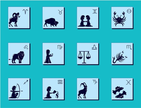 Zodiac signs and pictures for horoscope Illustration