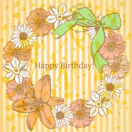 Zinnia, narcissus, lily and daisy flower circle with bow, vector Birthday pattern   Vector